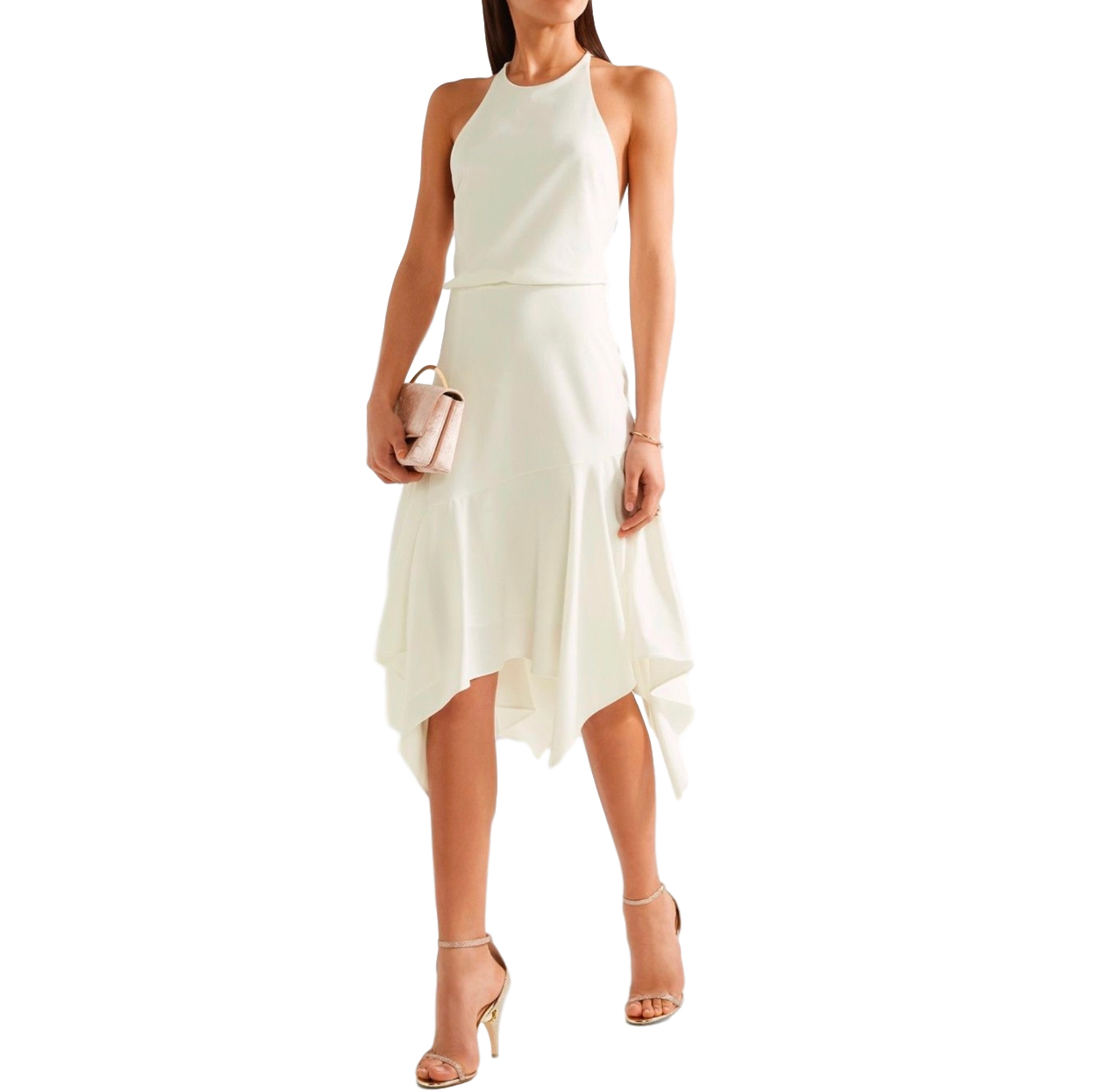 Halston Heritage Chalk Asymmetric Dress