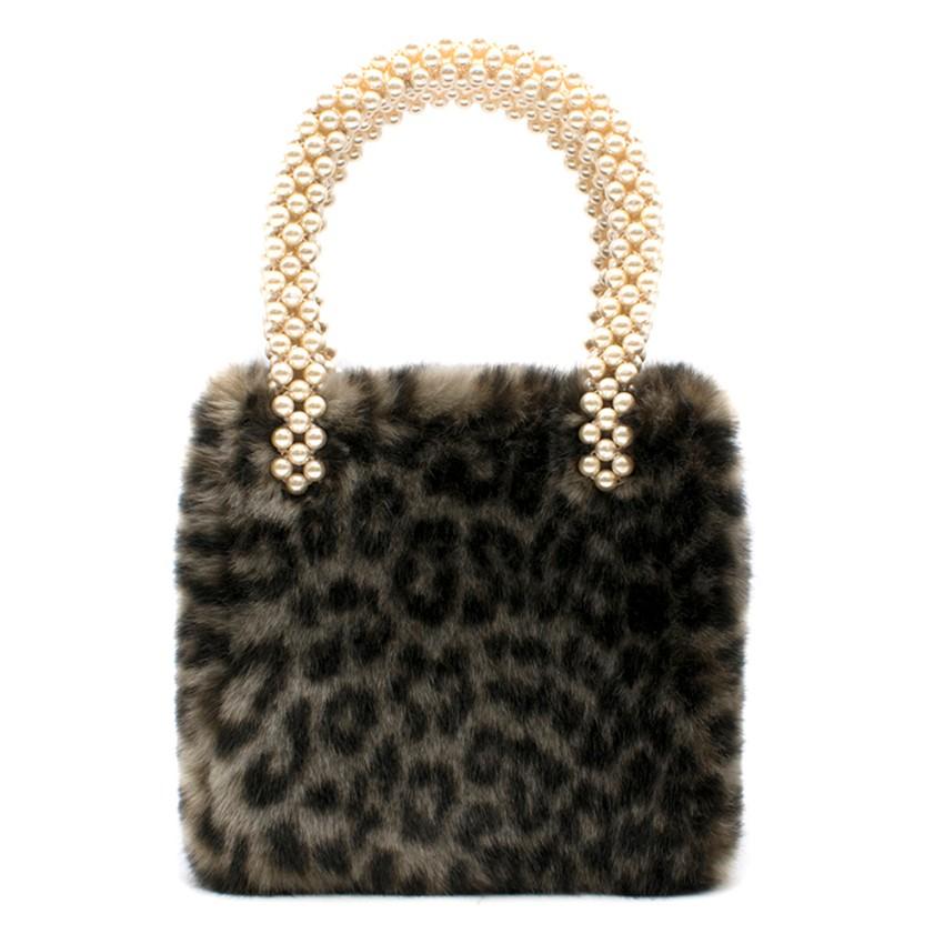 Shrimps Una Leopard Print Faux Fur Bag