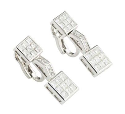 Mouawad White Gold Diamond Set Earrings