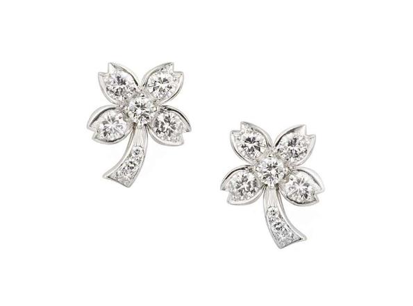 Tiffany & Co Pave Diamond Set Platinum Tree Earrings