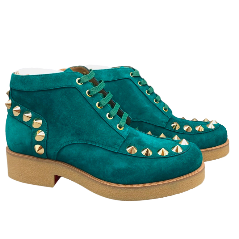 Christian Louboutin Teal Suede Yannick Flat Boots