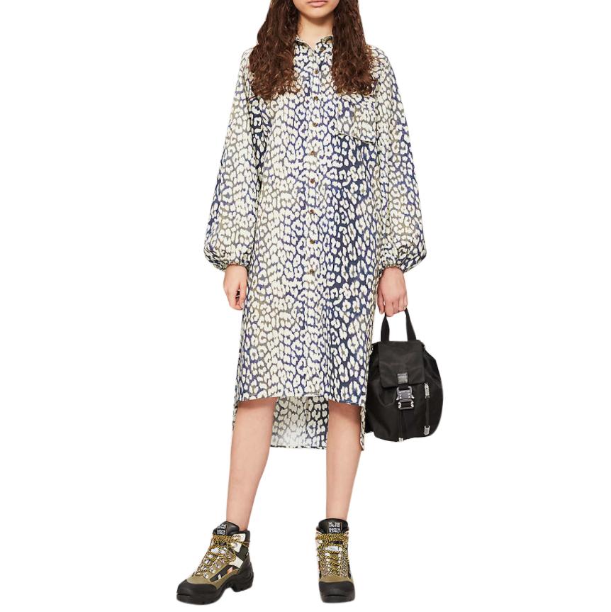 Ganni Leopard-print cotton-poplin midi shirt dress