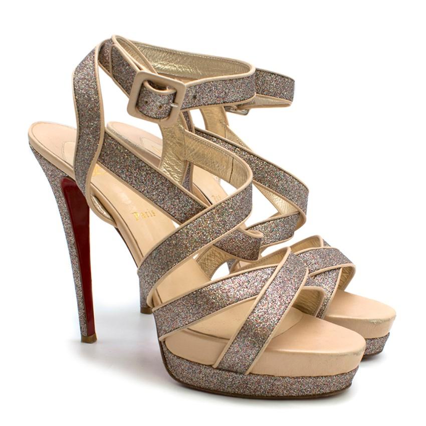 online store 71782 9b229 Christian Louboutin Glitter Straratata Strappy Platform Sandals
