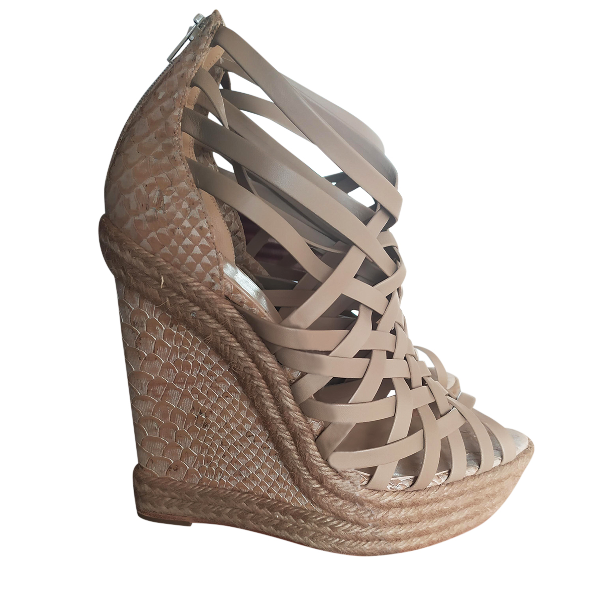 Christian Louboutin Leather & Python Espadrille Strappy Wedges