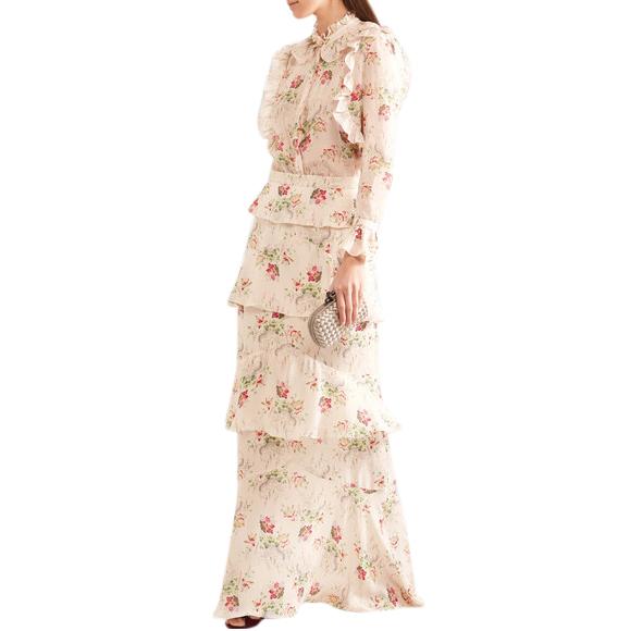 Vilshenko High Neck Ruffled Floral Blouse