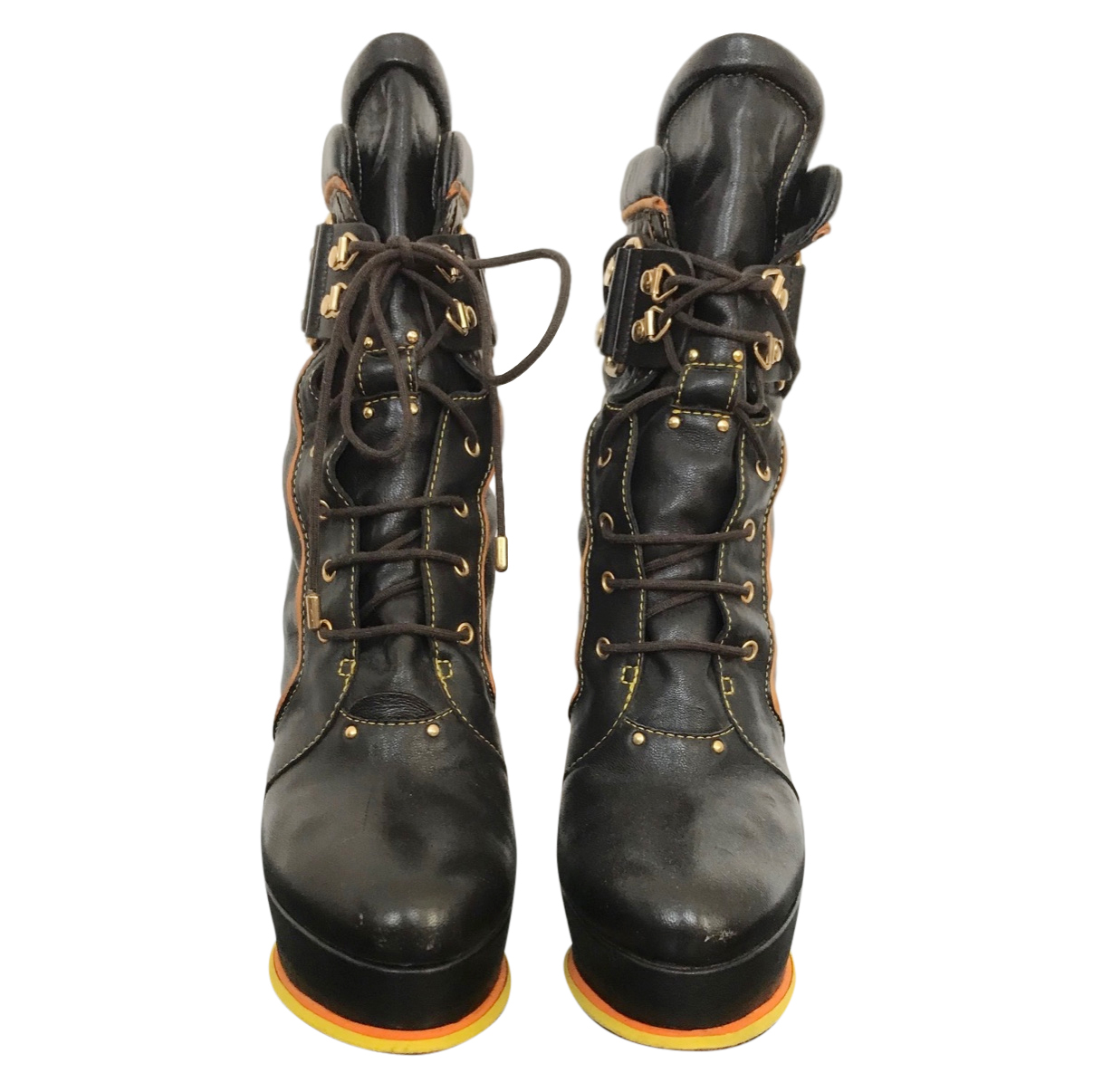 Vicini brown leather lace-up boots