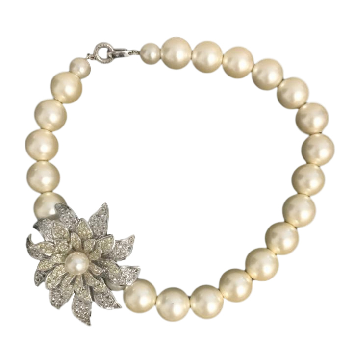 Chanel Crystal Floral Pearl Necklace