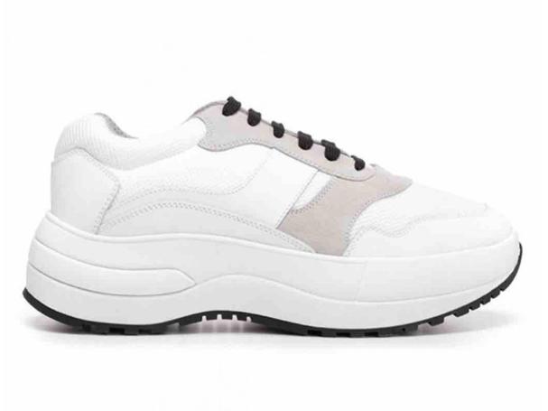 Celine White & Grey Leather Platform Sneakers