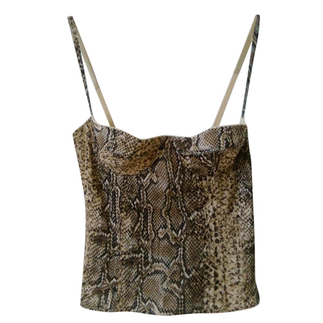 Dolce & Gabbana snake print stretch jersey bustier corset top