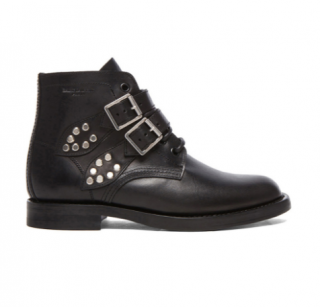 Saint Laurent Leather Buckled Ankle Boots in Black
