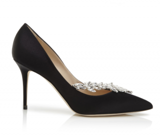 Manolo Blahnik Nadira Black Satin Jewel Buckle Pumps