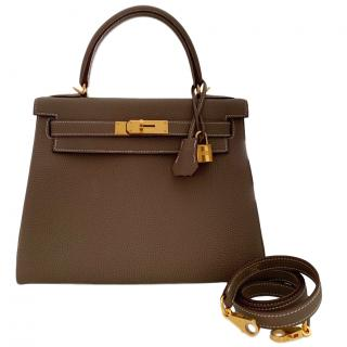 Hermes Togo Leather Etoupe 28cm Kelly Bag W/ GHW