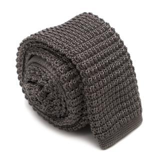 Lanvin Taupe Silk Knit Square Tie