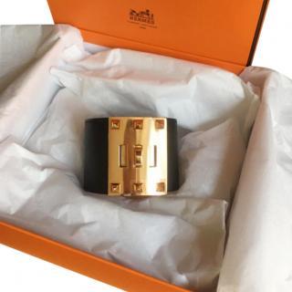 Hermes Kelly Dog Extreme Bracelet in Black Epsom Leather W/ PGHW