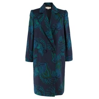 Stella McCartney Navy & Green Embroidered Wool Coat