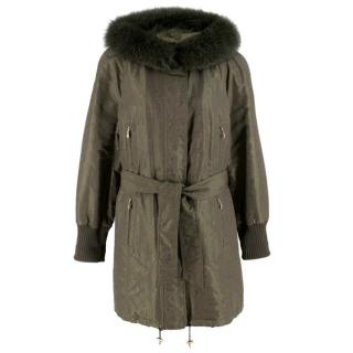 Escada Sport Khaki Coat With Fox Fur Hood