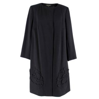 Escada Black Wool Blend Long Coat with Floral Embroidery