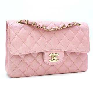 Chanel Pink Iridescent Caviar Classic Flap Bag - Full Set