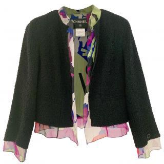 Chanel Black Tweed Jacket with Multicoloured Silk Trim