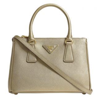 Prada Galleria Mini Saffiano Gold Tone Leather Bag - New Season