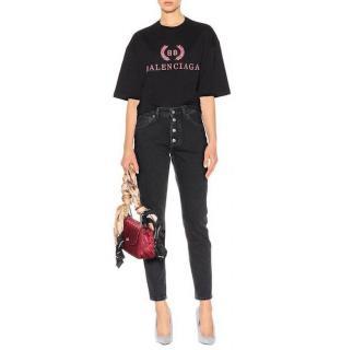 Balenciaga Black & Pink Logo Top