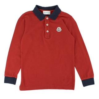 Moncler Boy's Red Long-sleeve Polo Shirt