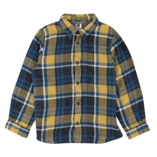 Bonpoint Blue and Yellow Plaid Button-up Top