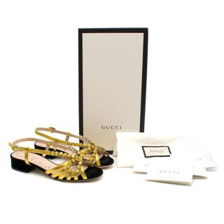 Gucci Gold Crystal Bow Embellished Sandals