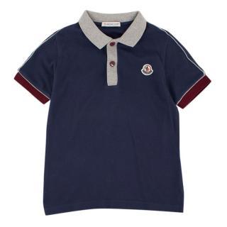 Moncler Boys 6Y Navy Cotton Polo Top