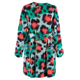 Kenzo Green & Red Leopard Print Coat