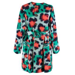Kenzo Green & Red Leopard Print Coat