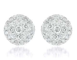 iliana 1.000ct 18kt White Gold DIamond Cluster Earrings