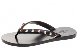 Valentino Black Leather Rockstud Thong Sandals