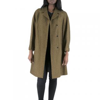 Dries Van Noten Gold Wool Knit Brocade Coat