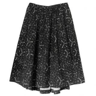 Comme Des Garcons Black & White Molecule Print A-Line Skirt
