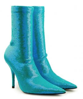 Balenciaga Blue Sequin Knife Boots