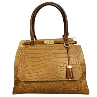 Michael Kors Collection Croc Embossed Tan Tote Bag