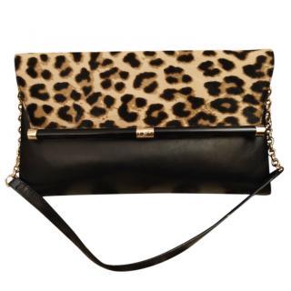 Diane Von Furstenberg Leather & Leopard Print Pony Hair Small Shoulder
