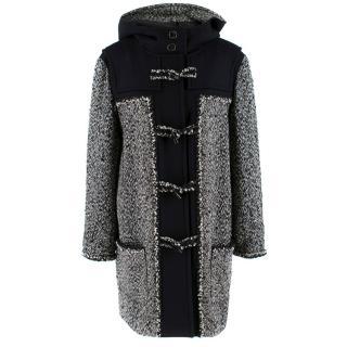 Chanel Black & White Tweed Knit Wool Blend Hooded Coat