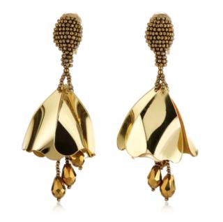 Oscar de la Renta Gold Impatiens Clip-on Earrings
