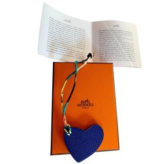 Celine Orange & Blue Leather Heart Bag Charm