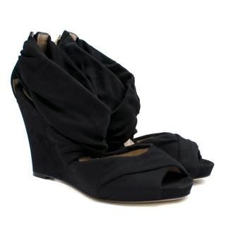 Fendi Black Cross Wrap Suede Wedges