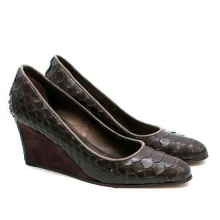 Stephane Kelian Paris Brown Snakeskin Wedges