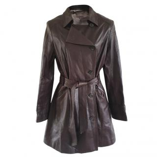 Cole Haan Chestnut Brown Leather Coat