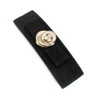 Salvatore Ferragamo Vera Bow Black Barrette Crystal Gold Rose Detail