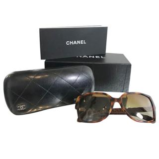 Chanel Brown Square Tortoiseshell Sunglasses