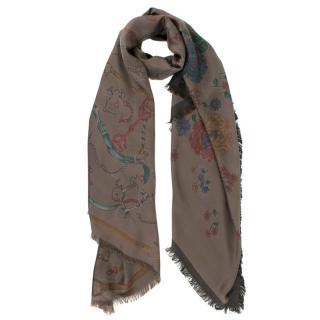 Franco Ferrari Brown Chain and Floral Print Silk Scarf