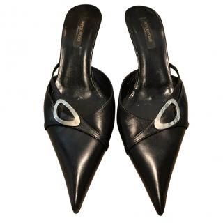 Sergio Rossi pointed-toe black leather mules