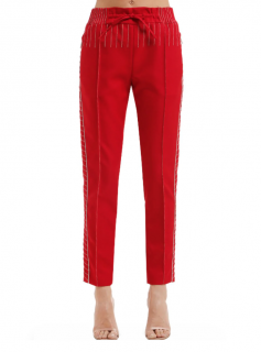 Valentino Topstitched Techno Jersey Track Pants