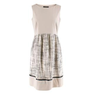 Weekend Max Mara Nude Sleeveless Dress with Tweed Skirt